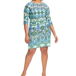 London Times Mayan Print Jersey Shift Dress EUC 1X